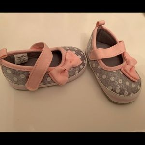 Other - Stepping Stones 6-9 mo grey & pink sequins shoes